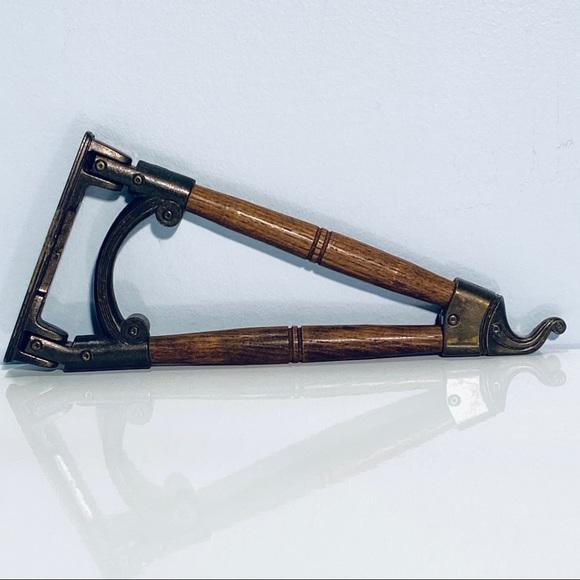 Brass Wood Pivoting Hook Elephant Vintage